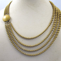 Art Deco Brass Bead Necklace. Four Strand Ball Bead Chainmaille Necklace. 1930s Art Deco Jewelry.