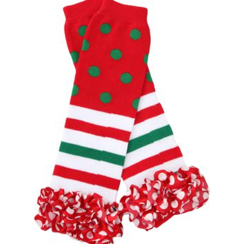 Red & Green Dot Christmas Ruffle Leg Warmers