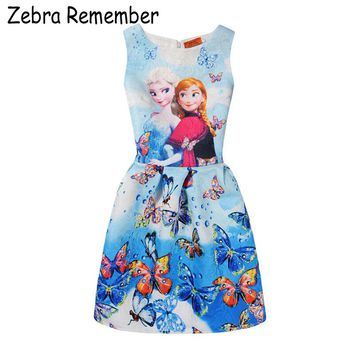 Baby Kids Dress Summer Princess girl Dress Anna Elsa Dress Vestidos Teenagers Butterfly Print Party Dresses Baby Girl Clothes