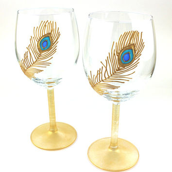 Wine Glasses, Wedding Glasses, Toasting Glasses,  Anniversary glasses, Peacock Feather Design, Hand painted, Set of 2