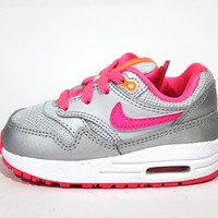 Nike Toddler's Air Max 1 Silver/Pink/White Running Shoes 631888 005