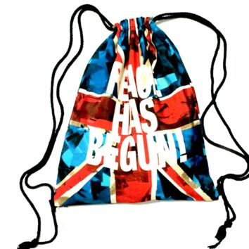 British Flag Peace Has Begun Typography Print Drawstring Cinch Backpack Bag for Women | DOTOLY