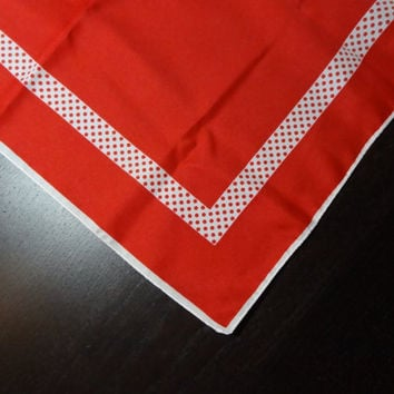 Vintage Women's Retro Red Polyester Scarf with White Boarder and Red Polka Dots