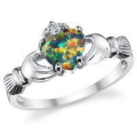 Stelring Silver 925 Irish Claddagh Friendship & Love Ring with a Rainbow Opal Heart Sizes 4 to10