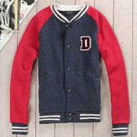 Red And Navy Mens Letter D Varsity Jacket