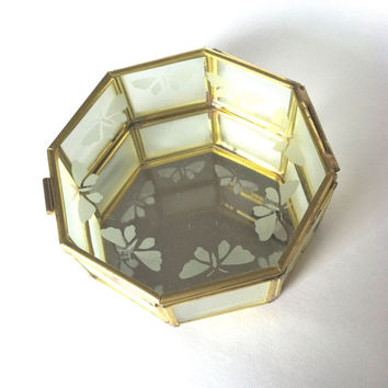 Geometric Glass Box | Vintage Glass Jewelry Box | Glass Terrarium | Taiwan