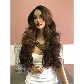 """Brown balayage ombré Swiss Lace Front Wig 24""""