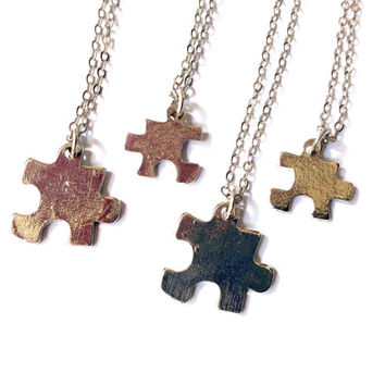 family jigsaw puzzle piece necklaces (set of 4 necklaces)