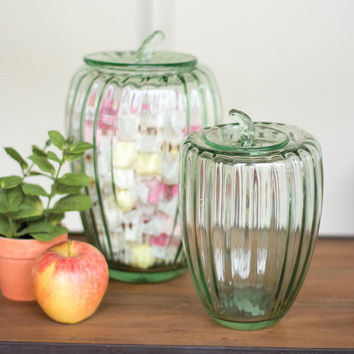 Set of 2 Glass Pumpkin Canisters