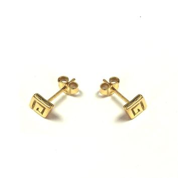 Sterling Silver 18 Karat Gold Overlay Greek Key Stud Earrings