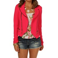 Hot Pink Asymmetrical Moto Jacket