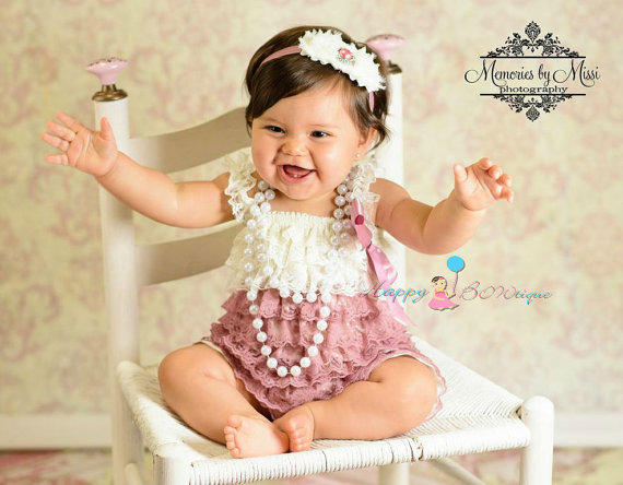 Dusty Ivory Rose Lace Romper Romper From Happy Bowtique