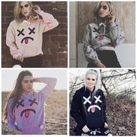Hoodies Tops Winter Trick Emoji Print Long Sleeve Cotton Hats [11889270671]