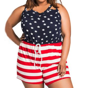 FEITONG Casual Loose Playsuits Women Sleeveless American Flag Printing Rompers Overalls Wear Large Size Combishort Femme &45