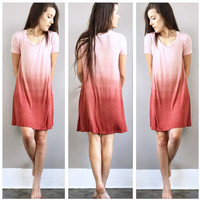 A Jersey Ombre Tee Dress in Brick