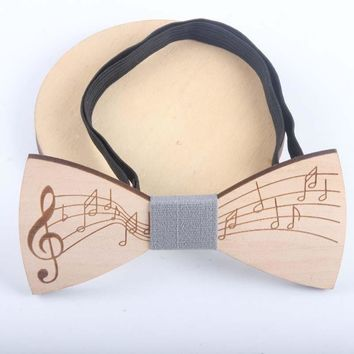 2018 Birthday Dad Friend Gift Wooden Bowtie Cravat Handmade Music Note Necktie Groom Wedding Suit Party PU Wood Neckwear Bow Tie