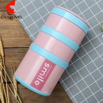 CHANOVEL Japanese 1.9L Bento Box For Kids Portable Camping Picnic Set Stainless Steel Lunch Boxs Sealed Food Containers