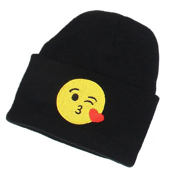 Wink Blowing Kisses Emoji Beanie Fashion Winter Warm Wool Unisex Knitted Ski Cap Black Cuffed Skully Hat