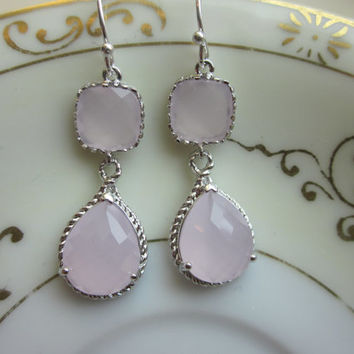 Pink Opal Earrings Silver Pink Two Tier Earrings Teardrop Glass - Sterling Silver Earwires - Bridesmaid Earrings Wedding Earrings