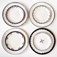 Set of 8, DINNER & DESSERT Plates, Black, White, Ceramic, Bridal Gift, Mix Match, Wedding Registry, Rustic, Tableware, Spanish, Hand Built