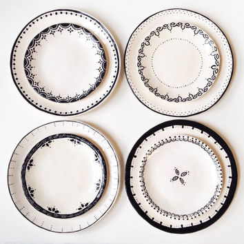 Set of 8 DINNER u0026 DESSERT Plates Black White Ceramic Bridal  sc 1 st  Wanelo & Best Black Dinner Plate Set Products on Wanelo