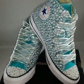 bridal converse wedding converse bling pearls custom converse sneakers personaliz