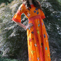 1960s Mexican folk dress / boho ethnic by thewitcheryvintage