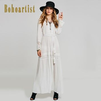 Women Patchwork Maxi Dress Flare Sleeve Lace Up Button Folk Long Dress Autumn Ladies Bohemian Chic Maxi Dress