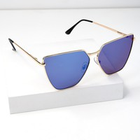 Up on High Gold and Blue Mirrored Sunglasses