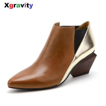 Xgravity Hot Sales New Autumn Lady Shoes Genuine Leather Woman's Chunky Heel Point Toe Fashion Boots Mix Color Ankle Boots S030