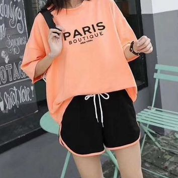 """PARIS"" Woman's Leisure  Fashion Letter Printing Loose Short Sleeve Shorts Two-Piece Set Casual Wear"