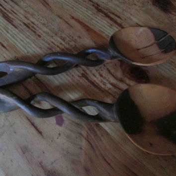 Hand Carved Vintage Salad Servers, Salad Spoon and Fork, Kiaat Hard Wood, Traditional, Ethnic,  African