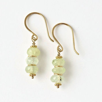 Prehnite Earrings / Pale Green Gemstone Earrings / Stacked Earrings / Gemstone Beaded Earrings / Gold Prehnite Earrings / Green Dangles