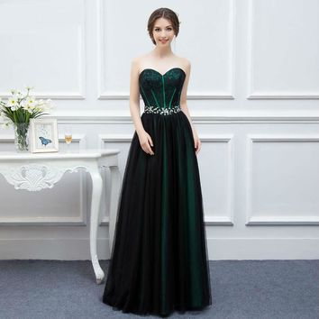 New Arrival Emerald Green And Black Tulle Sweetheart Bodice Off Shoulder Evening Dresses  Long Formal Prom Gown Women Dresses