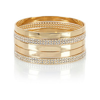River Island Womens Gold tone encrusted bangle pack