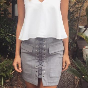 High Waisted Lace Up Suede Skirt