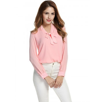 Women's Casual Chiffon Tie-Bow Neck Long Sleeve Solid Blouse Tops