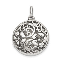 Sterling Silver Antiqued Filigree Locket Pendant QLS848