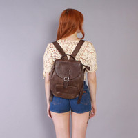 90s DARK Brown LEATHER BACKPACK / 1990s Pebbled Texture Overnight Daypack School Bag