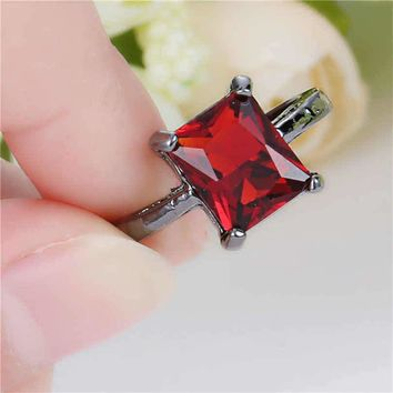 Black Rhodium Red Jeweled Fashion Ring