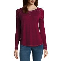 Rewind Long-Sleeve Lace-Shoulder Sweatshirt - Juniors - JCPenney