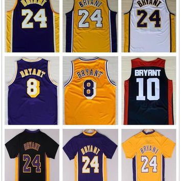 Top Quality #24 Kobe Bryant Jersey Purple White Black Yellow Throwback #8 Kobe Bryant Lower Merion High School Basketball Jerseys Accept Mix