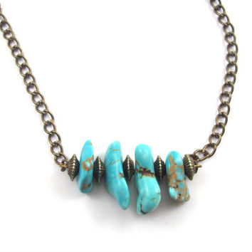 Turquoise and Antiqued Brass Necklace