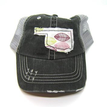 Black and Gray Distressed Trucker Hat - Pink Leaf Applique - Oklahoma - All United States Available