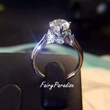 Art Deco 1 Carat Swam Engagement Ring / Promise Ring, Round Cut Man Made Diamond, Free Ring Box ( Fairy Paradise )