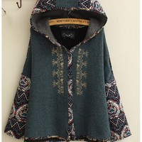 Jackets : Ethnic Embroidered Hooded Jackets