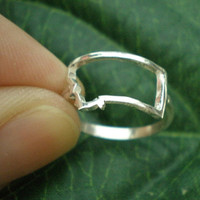 MT Montana State Silver Ring - Montana Outline Map Ring United States - Celebrity Inspired Jewellery