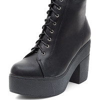 Black Lace Up Chunky Block Heel Ankle Boots