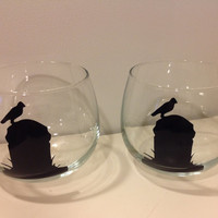 Halloween Stemless Wine Glass, Grave and Raven Glass Set, Rocks Glass, Gothic Home Decor,  Rest in Peace, Raven Floating Candle Holder, Gift