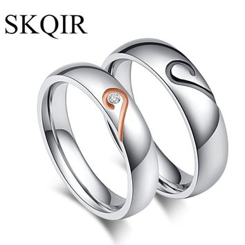SKQIR 4/5mm Wide Engagement Wedding Rings Silver Couple Rings for Women Men Stainless Steel Heart Promise Jewelry anel masculino